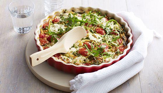 Frittata mat rucola en pruimtomaatjes http://www.boursin.com/nl_nl/Recepten/Receptcategorieen/Lunch/Frittata-met-rucola-en-pruimtomaatjes