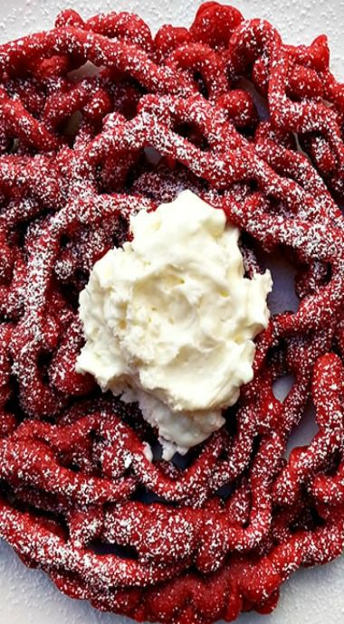 Red Velvet Funnel Cake With Cream Cheese Icing Recipe