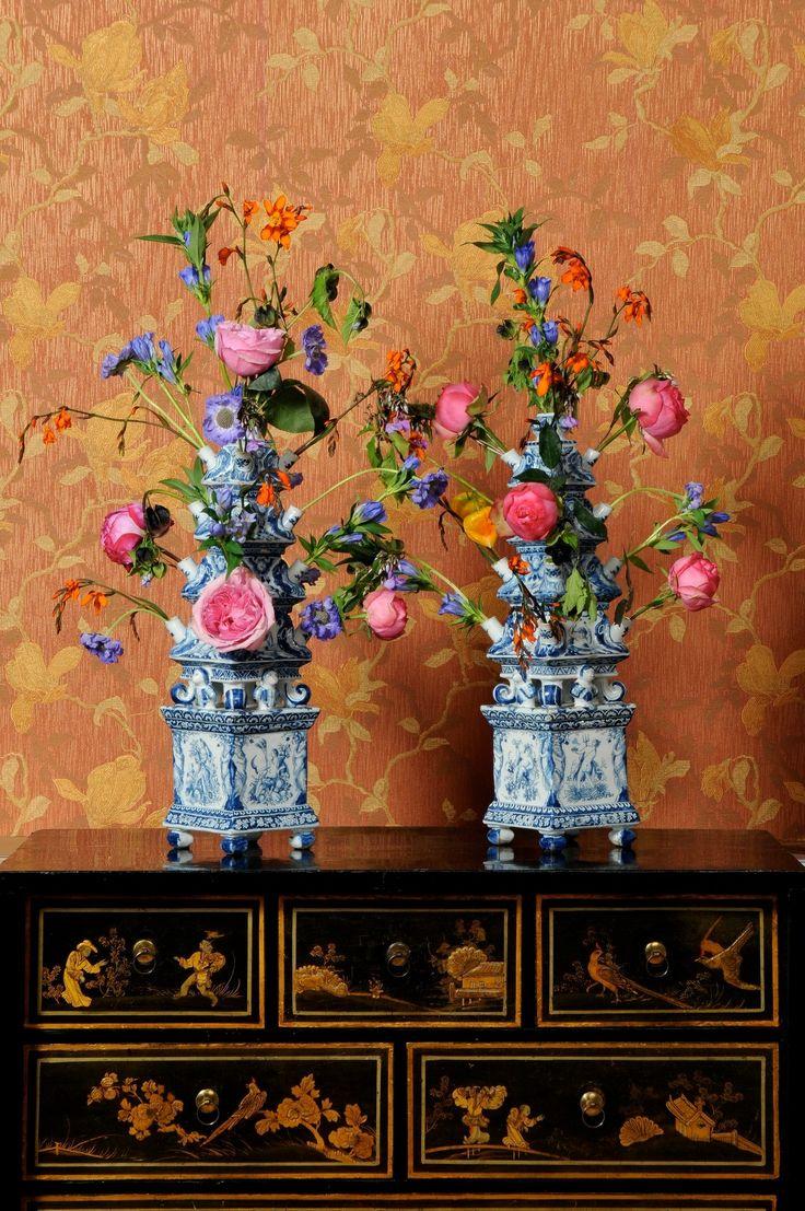 Delft tulipieres  in classical interior. Aronson Antiquairs of Amersterdam