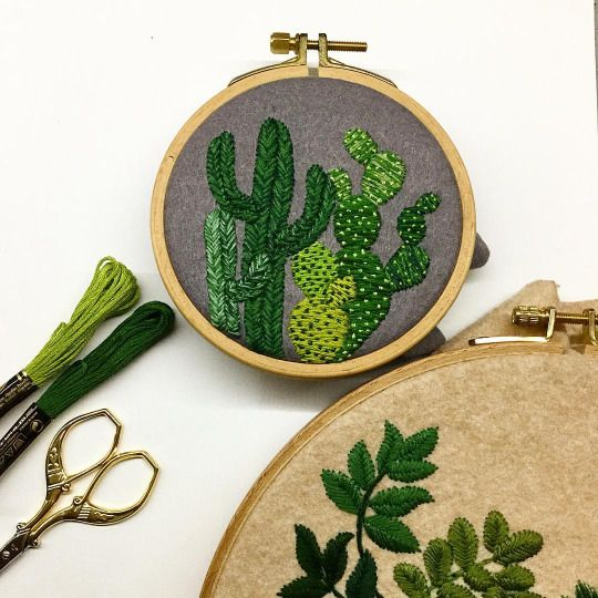 Más de ideas increíbles sobre cactus embroidery en