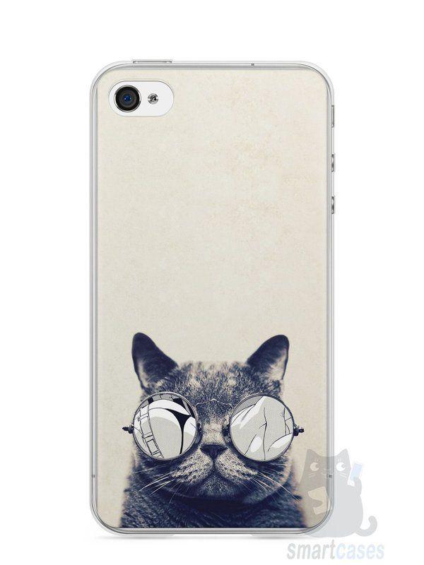 Capa Iphone 4/S Gato Com Óculos - SmartCases - Acessórios para celulares e tablets :)