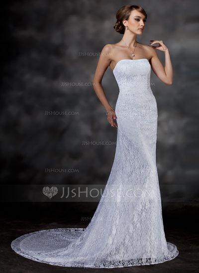 Wedding Dresses - $172.99 - Trumpet/Mermaid Sweetheart Chapel Train Satin Lace Wedding Dress (002000513) http://jjshouse.com/Trumpet-Mermaid-Sweetheart-Chapel-Train-Satin-Lace-Wedding-Dress-002000513-g513?pos=your_recent_history_3