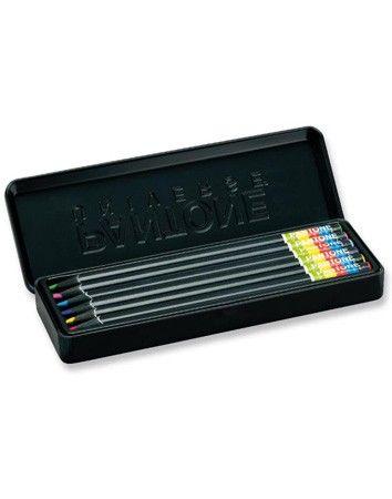 Pantone metal box with 6 colored pencils. http://en.wearunique.com/pantone-pencil-case-set-by-pantone-universe-1541.html