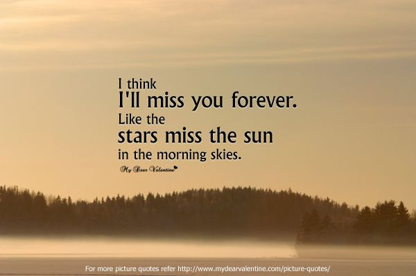 I Think I Will Miss You Forever. Like The Stars Miss The