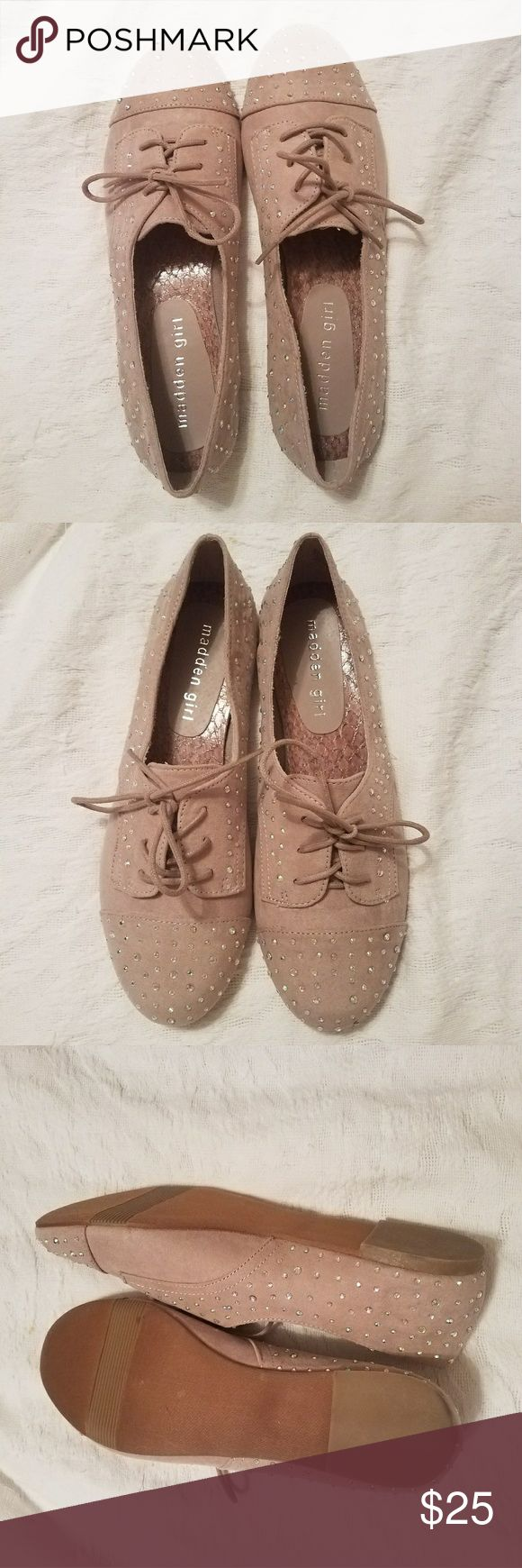 Madden Girl Julissa Blush Tie-Up Flats Blush colored and rhinestone tie-up flats.  Never worn and have been sitting in original box on touched! Madden Girl Shoes Flats & Loafers