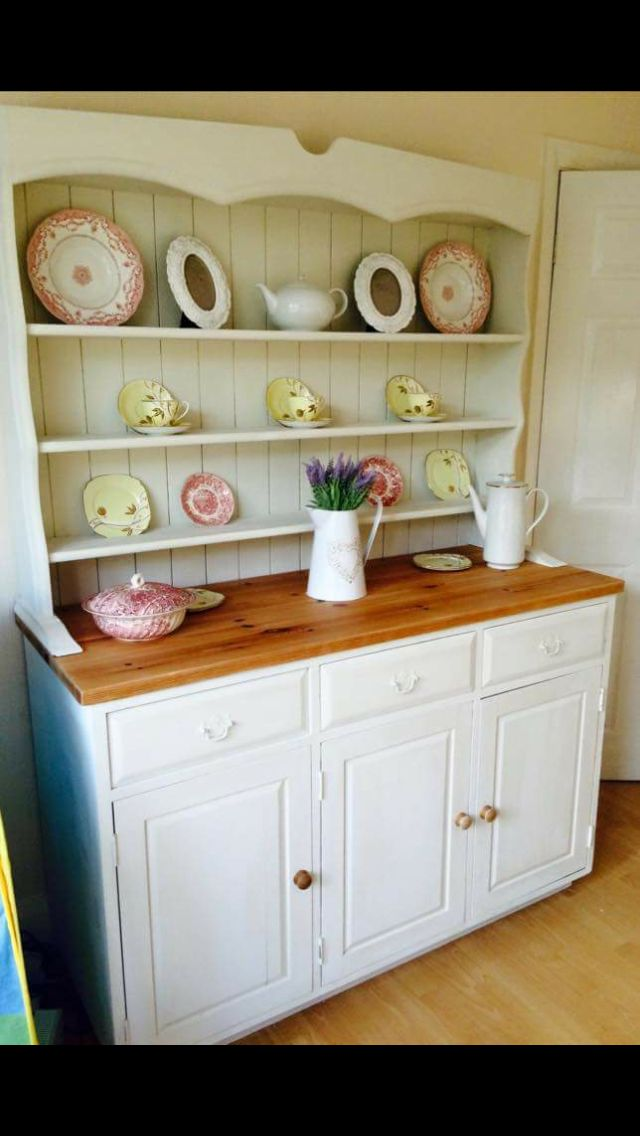 Shabby chic Welsh dresser. Hand painted in Annie Sloan Old White and waxed. Top sanded back to original pine. Stunning x