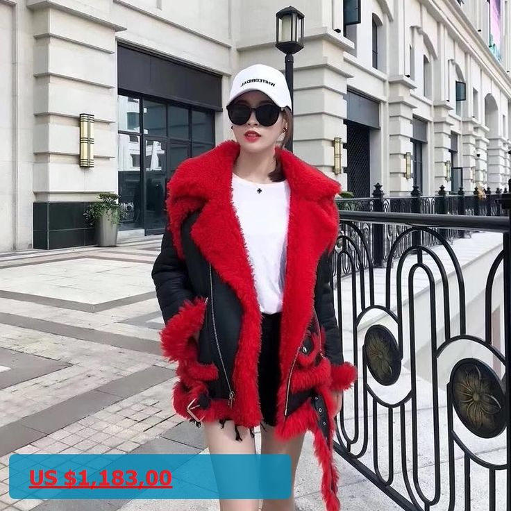 Real Sheepskin Faux Fur Coats zippers Jackets Women Red Genuine leather Winter Fashion Thicken Warm lamb Fur Lining coat Female
