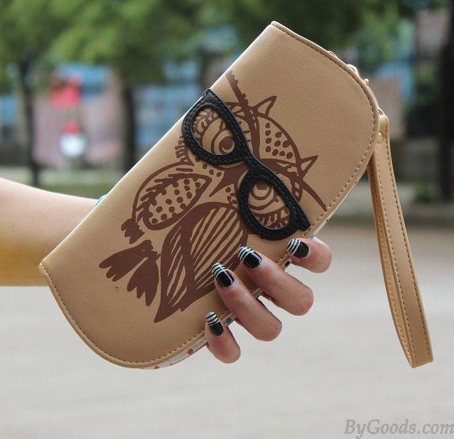 Gyönyörű lányok lányai Aranyos háborús szemüvegek Vegyes színes nyomtatás kerek cipzárral Hosszú pénztárca hónalj Pocket