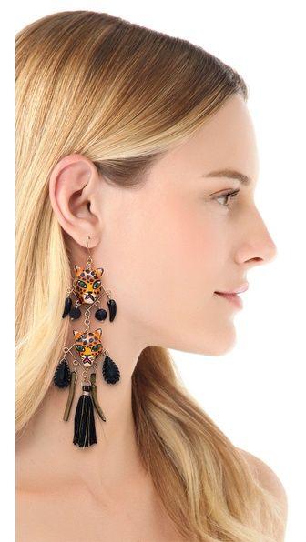 Mercedes Salazar Leopard Face Drop Earrings