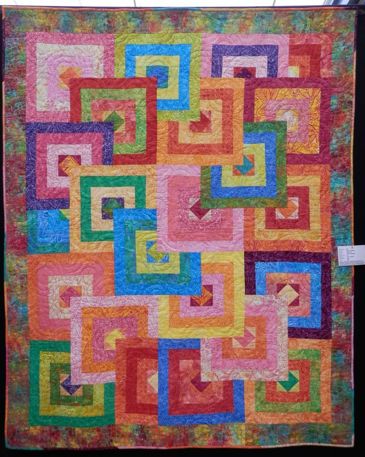 This fun and bright quilt is called 'Panic in Paducah' and was made from a kit by Nancy Thompson.