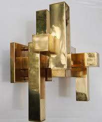 Gaetano Sciolari Cubic Wall Lamp In Brass