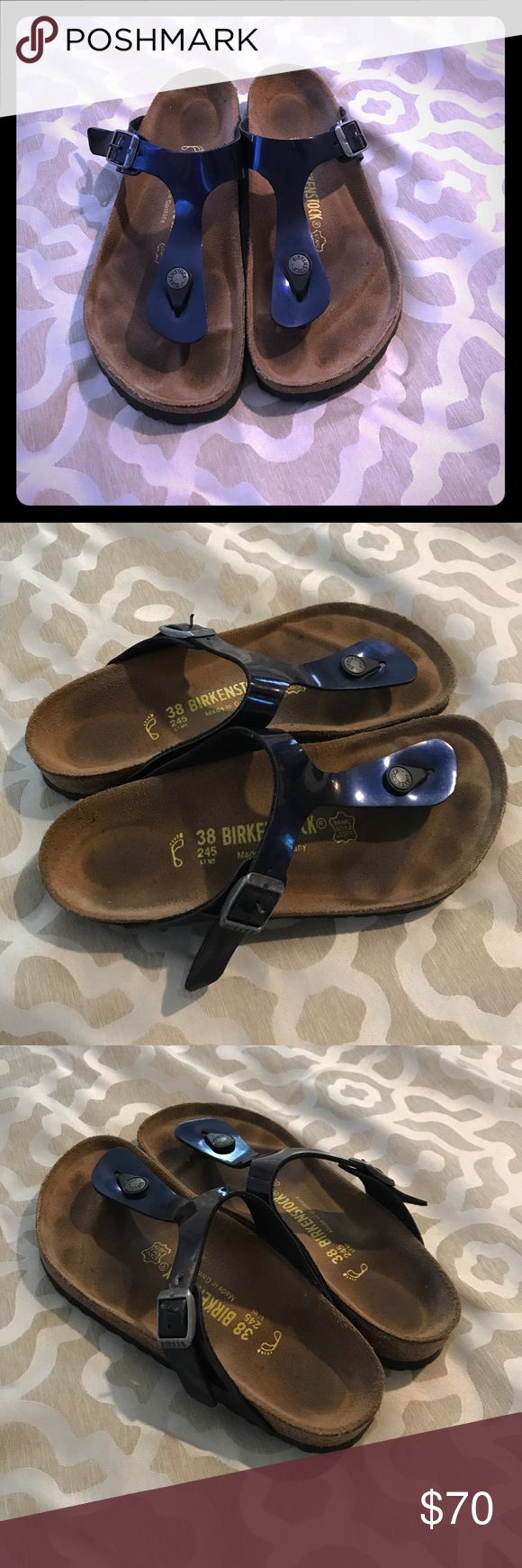 Birkenstock 😍 This is a rePosh! Purchased from Poshmark and I absolutely love these gorgeous Birks but unfortunately they are just slightly on the narrow side for my feet to be truly comfortable. A beautiful deep navy patent color, barely any wear, excellent used condition and ready for a new home where they will be loved for years to come! Birkenstock Shoes Sandals
