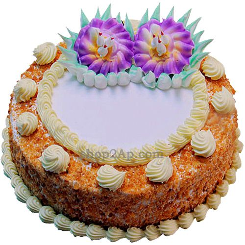 The rich creamy cake is not only delicious but is also beautifully decorated with colorful sprinkles. Make the happy moments of your loved ones unforgettable with our yummy Butterscotch Cake.You can send cake online through shop2Vijayawada.com. Our Butterscotch Cake also makes a good thank you gift and can also be sent on graduation on success , the birth of a baby and birthdays and anniversaries. We will also write your personal message on the cake.