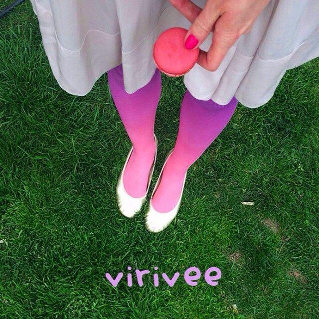 Macaron day! :) Salmon-purple ombre tights by Virivee . . . #virivee #ombre #ombretights #tights #spring #fashion #cute #macaron #pantyhose #strumpfhose