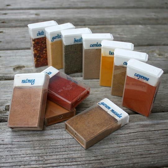 Tic tac boxes for spices.  A little more sanitary and a little less messy than the pill box idea