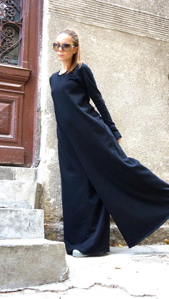 NEW collection black cotton wide leg maxi jumpsuit extravagant jumpsuit / long sleeve thumb holes with side pockets by AAKASHA A19517