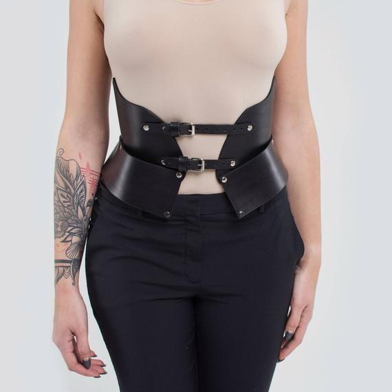 Black Leather Corset Belt Underbust Corset Leather Waist Etsy