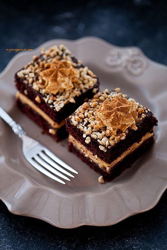 Ciasto piernikowe z kremem dyniowym i powidłami