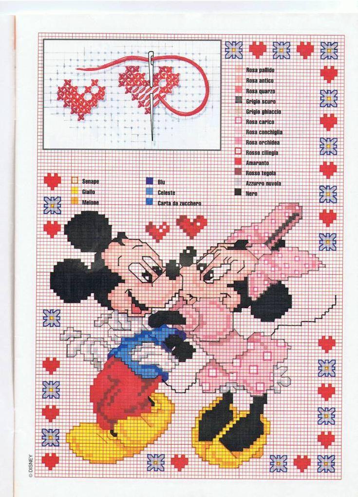 Minnie e Topolino bacio dolce con tanti cuoricini - magiedifilo.it punto croce uncinetto schemi gratis hobby creativi