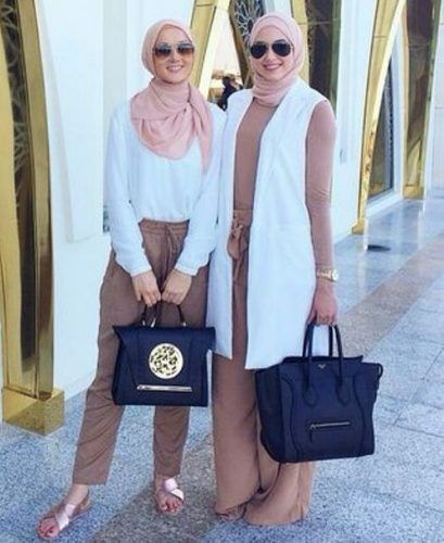 pastel top with white vest hijab- Trendy and chic hijab looks http://www.justtrendygirls.com/trendy-and-chic-hijab-looks/