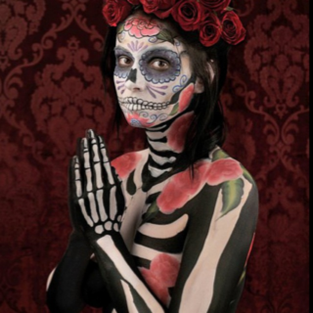 Day of the dead body and face paint  http://www.flickr.com/photos/83691208@N00/5526277083/