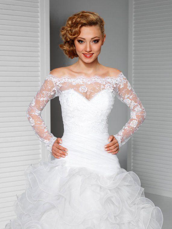 1048041945 Off-Shoulder Alencon Lace Bolero Jacket Bridal Bolero Bridal Lace Shrug