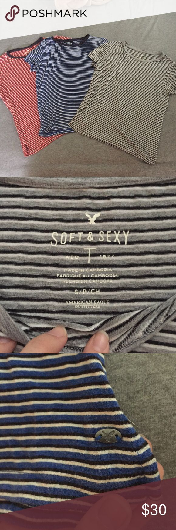 American Eagle Soft and Sexy shirts Bought them and they don't fit me, too small! They are $40 a piece in stores. American Eagle Outfitters Tops Crop Tops