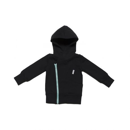 College hoodie, black (ice blue zipper) - Gugguu