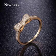 Botas planas lindo del arco nudo anillos 18 k oro y oro blanco plateó Tiny CZ pavimentado de moda mejor regalo para las niñas y navidad(China (Mainland))