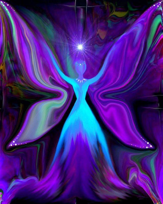 """""""Angel of the Fairy Realm"""" is a chakra themed reiki attuned energy art print in my line of angel art wall decor. Created in December 2011. This purple and blue energy art angel was inspired by the eme                                                                                                                                                                                 More"""