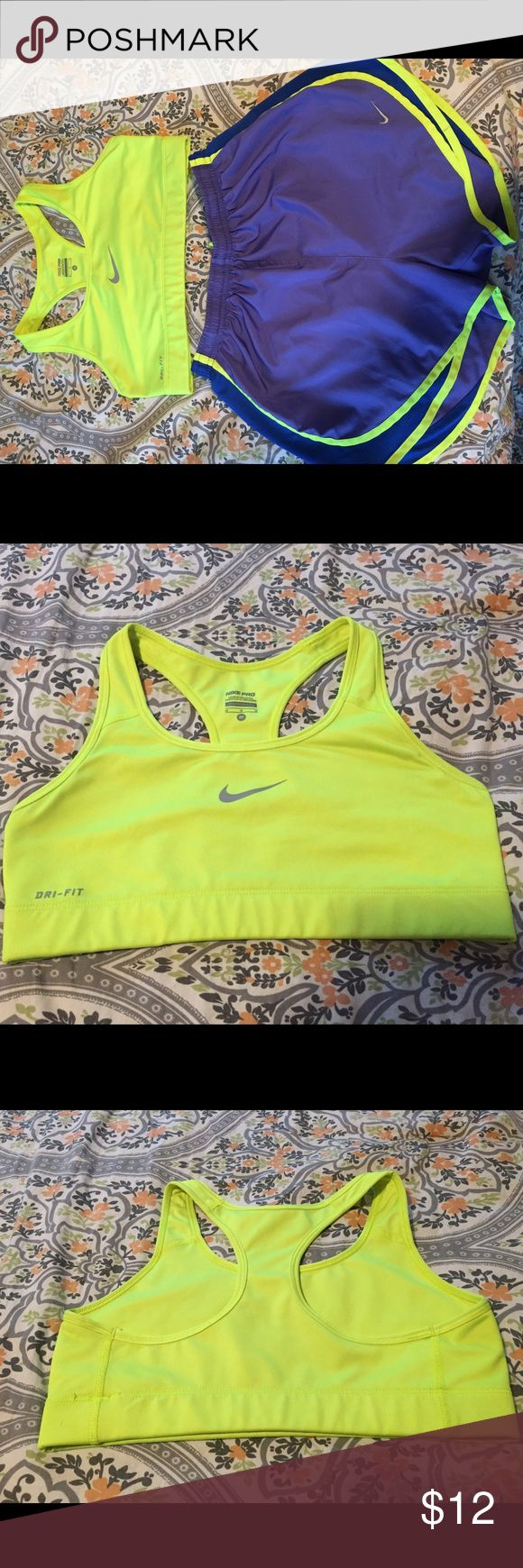 Nike Pro sports bra Neon yellow, medium support, dri-fit sports bra. Worn but in great condition. Nike Tops Crop Tops