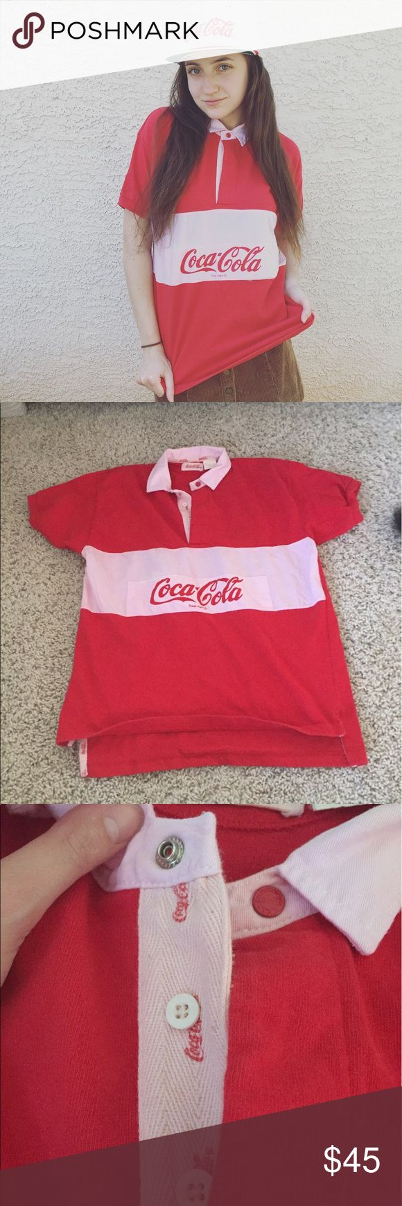 Vintage Coca Cola rugby polo shirt Buttons and a snap on top. Short sleeve brand is Coca Cola. Mens Rugby shirt. Vintage Shirts Polos