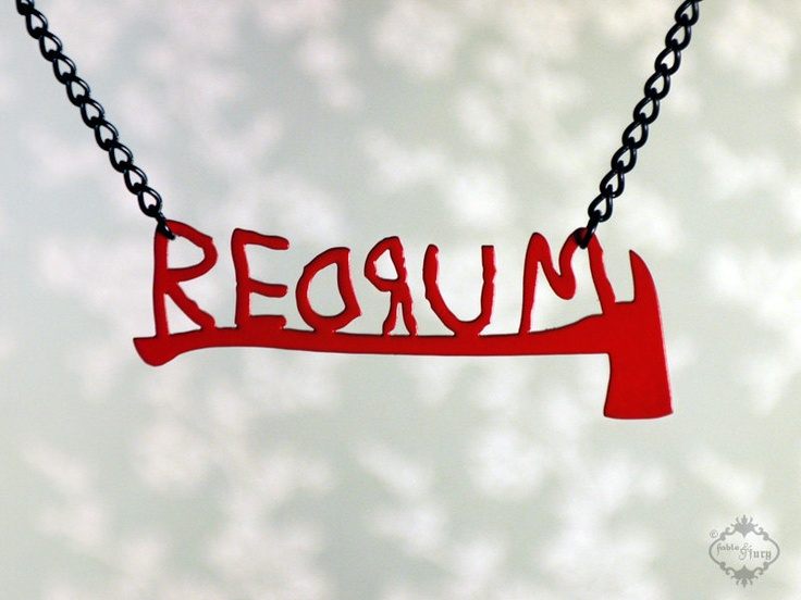 REDRUM text necklace with axe inspired by The Shining in red stainless steel - horror jewelry, via Etsy.