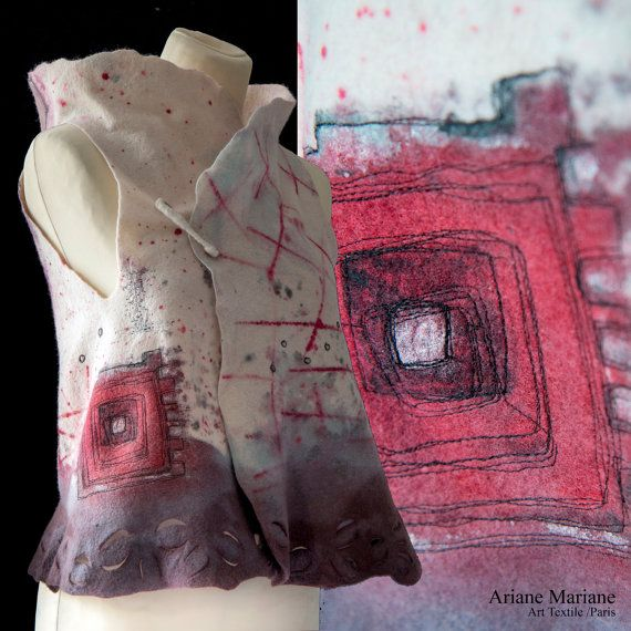 Fancy merino Wool Art Vest, Dripple Painted Felt Women Vest, Wearable Art Garments Paris Design, Reversible Bolero, Original Fiber Art