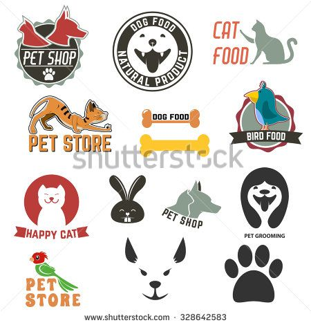Set of pet shop labels and badges. Cat food. Dog food. Pet store. Logo design…