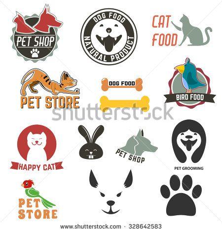 Set of pet shop labels and badges. Cat food. Dog food. Pet store. Logo design…