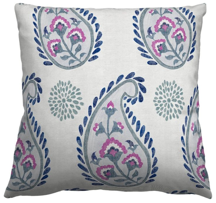 """Square Throw Pillow in Paisley, Gale Shorebreak Ella. 16""""x16"""" knife edge pillow cover with concealed zipper, no piping. Pillow insert not included."""