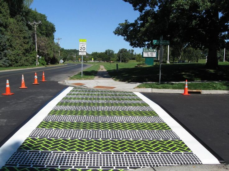 Fun Green And White Crosswalk In Minesota