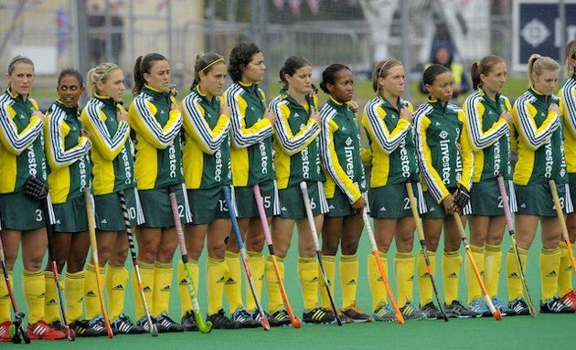 South African women's field hockey team after being subjected to the playing of the apartheid-era version of their national anthem. 6/6/12