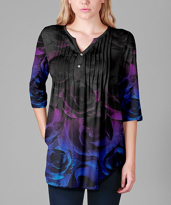 Black & Blue Floral Pin Tuck Notch Neck Tunic - Plus Too