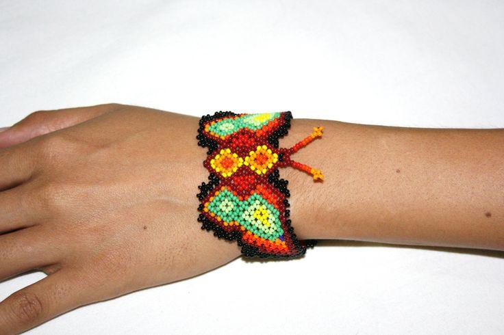 Butterfly Bracelet Huichol Beadwork Native by BiuluArtisanBoutique