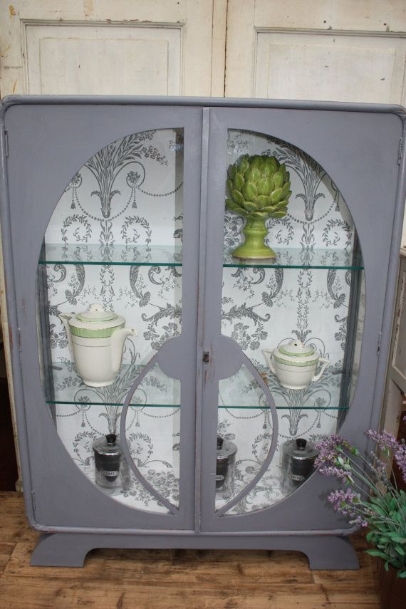 Upcycled Art Deco 1930's Glass Display Cabinet by Restored2bloved