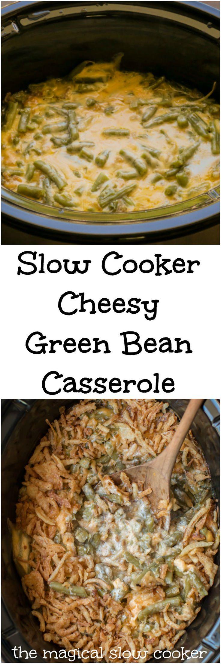 Slow Cooker Cheesy Green Bean Casserole