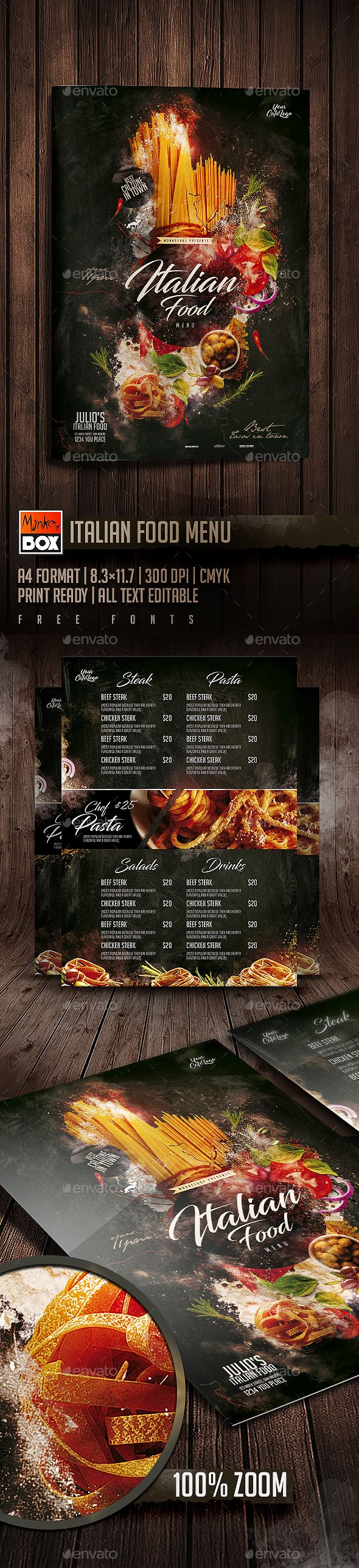 Italian Food Menu — Photoshop PSD #caffe #cover • Download ➝ https://graphicriver.net/item/italian-food-menu/19703094?ref=pxcr