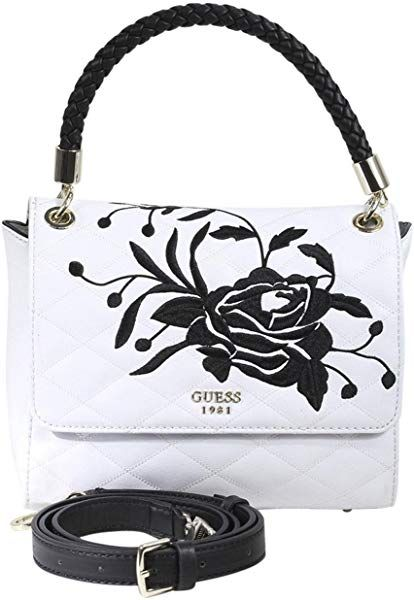 16135b5b7 Amazon.com: Guess Women's Heather Embroidered White/Multi Flap Satchel  Handbag: Clothing