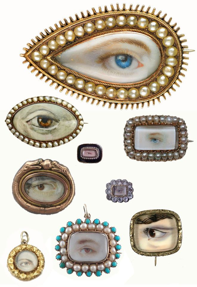 Lover's Eyes. So, the history of this jewelry style is as juicy as the paintings are gorgeous. Since romantic love didn't typically exist within the confines of a marriage at this point in history, affairs were pretty common. So how would you show your loyalty to your lover? By wearing a sentimental portrait of an unidentifiable part of their person, of course.