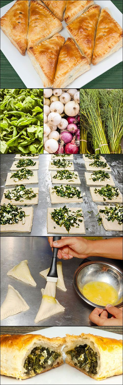 Spanakopita (Greek spinach and feta cheese pie), a savory pastry recipe from Wicked Goodies