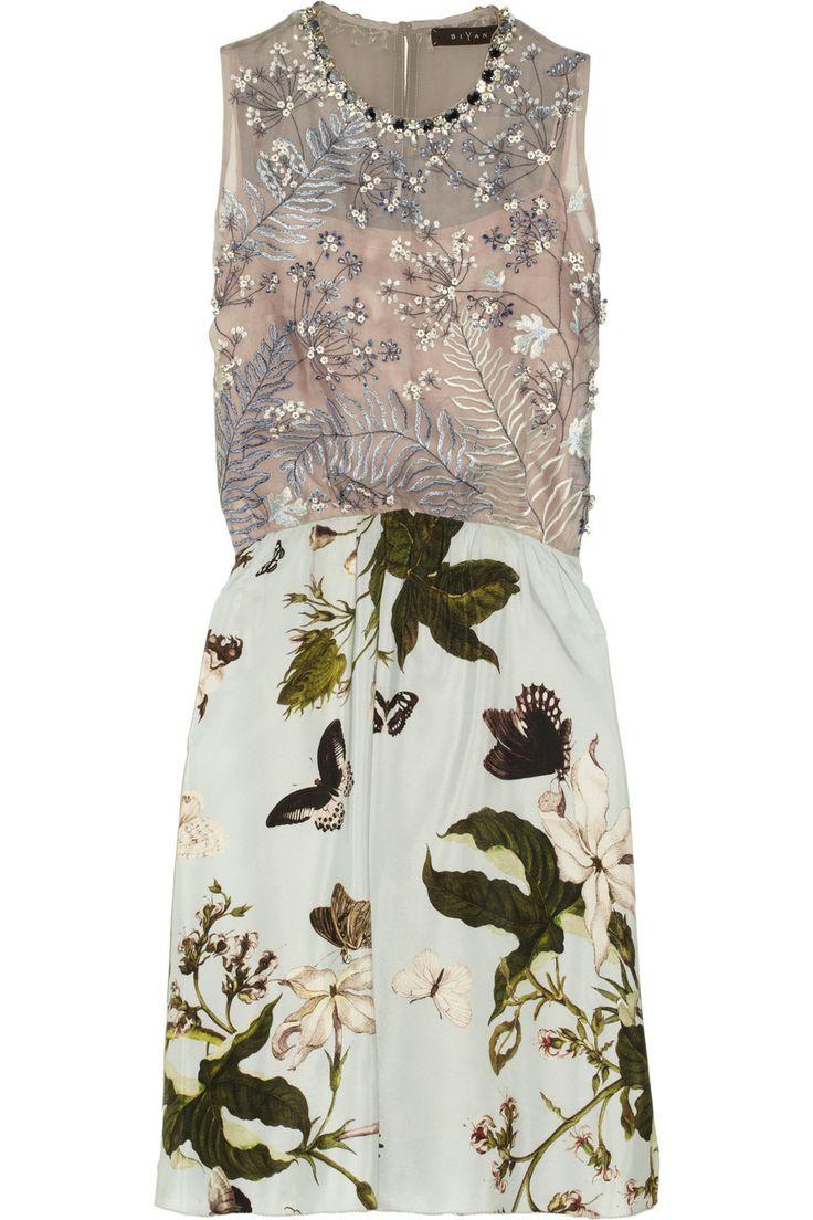 bead + floral Biyan | Alyssa embroidered printed silk dress | NET-A-PORTER.COM