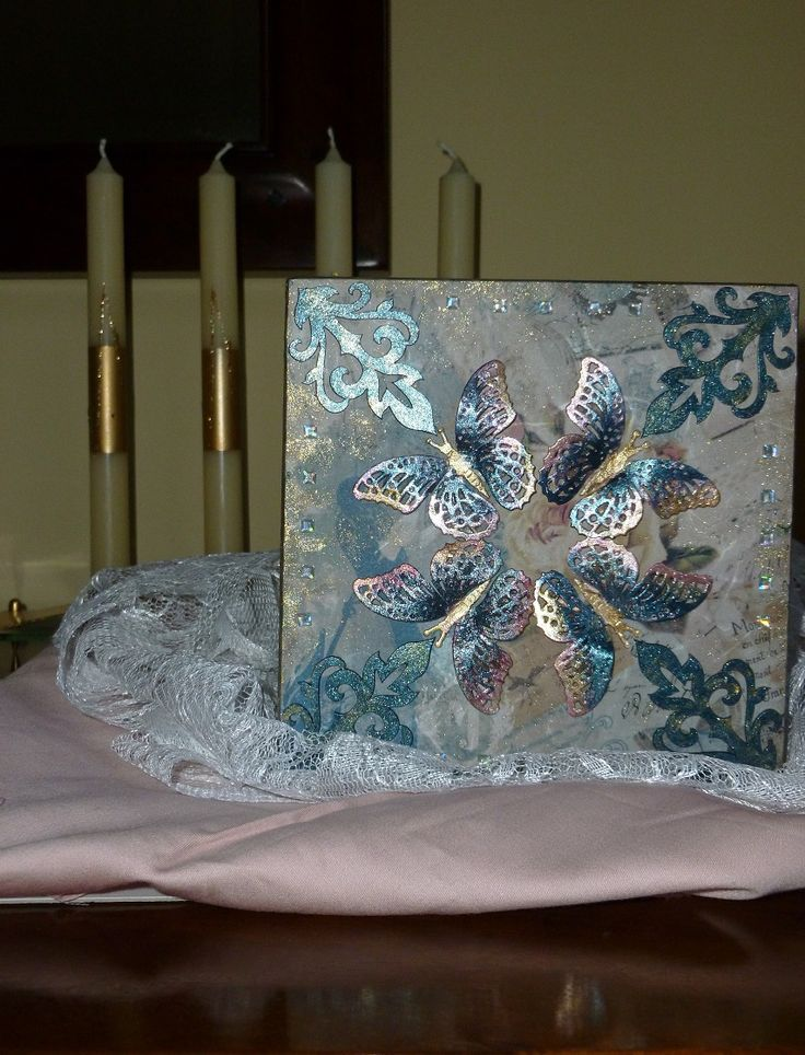 'Butterfly Circle' MDF Box.  Top lid of box.  Products as previous photo for Butterfly Circle MDF Box.  January 2016