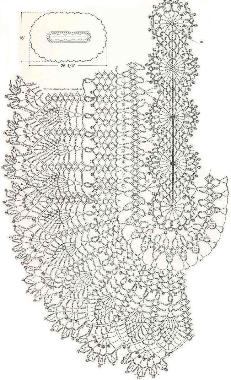 Crochet oval doily chart:
